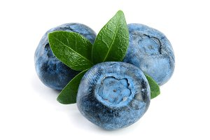 fresh blueberry with leaf isolated