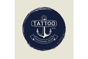 Vintage tattoo salon emblem with