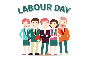 Labour Day poster people vector