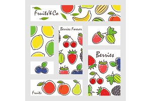 Fruits and berries banners set