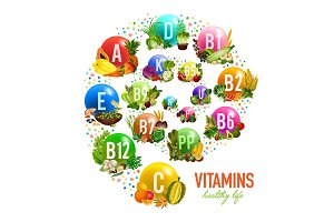 Fruits, nuts and vegetable vitamins