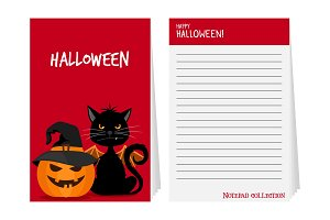 Halloween notepad with black cat and