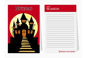 Halloween notepad with castle and