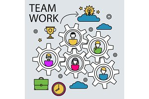 Teamwork business concept with gears