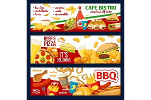 Fast food menu and pizza banners