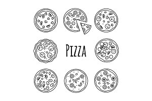 Line icons pizza set vector