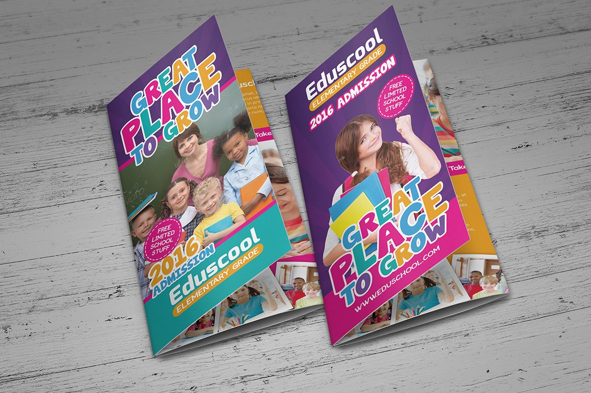 elementary school education trifold brochure templates creative market