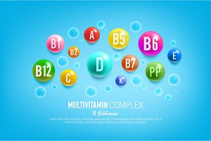 Vitamin complex pills and capsules