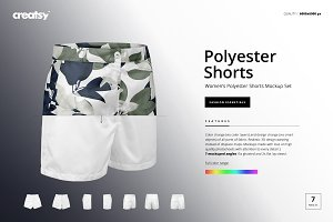 Women's Polyester Shorts Mockup Set