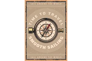 Marine travel compass retro poster