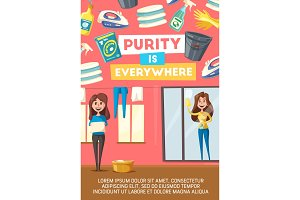 Home cleaning company vector poster