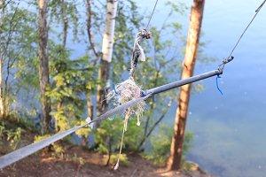 Danger bungee handle at lake