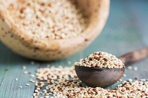 Close-up of raw quinoa
