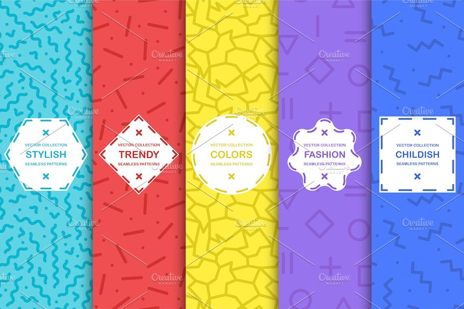Trendy seamless color patterns