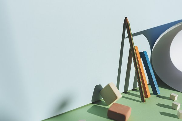 Education Stock Photos: SZ IMAGE - Pencil leaning against the blue wall