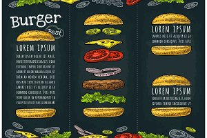 Burger with flying ingredients on