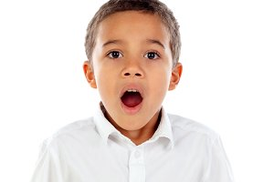 Surprised child open his mouth