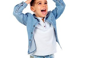 Surprised child with jeans