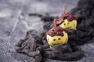 Halloween treat apple in shape of