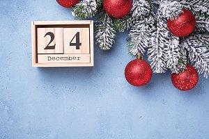 24 December on wooden calendar