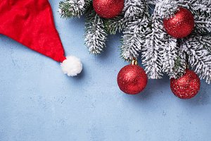 Christmas background with branch of