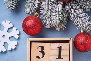 New year background with wooden