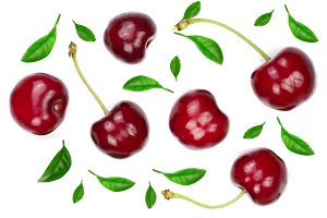Sweet red cherries with leaves