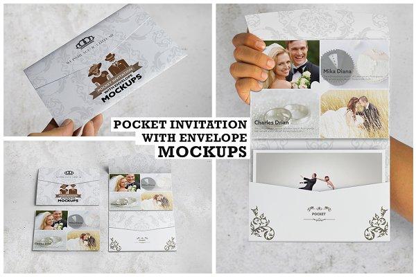 Pocket Invitation Envelope MockUps