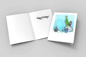 Cute Penguin Holiday Christmas Card