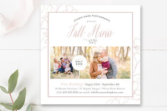 5x5 fall mini session template flyer templates creative daddy