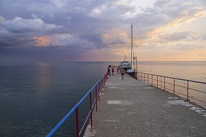 Evening sky over the Black Sea.