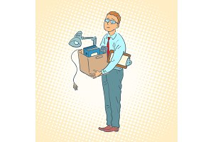 businessman with box moving office