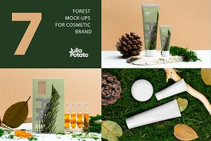 Cosmetic mockup on forest background