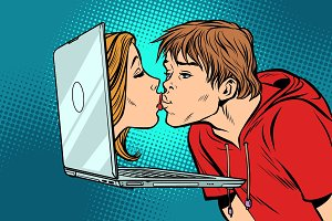 Virtual kiss, young man and woman