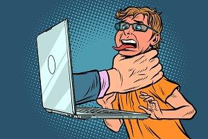 Internet censorship concept. Hand