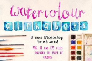 3 Watercolor Alphabet Brush Sets