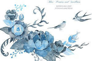 Wedding Clipart Blue Peony Swallows