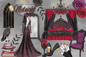 Watercolor Halloween Clipart set