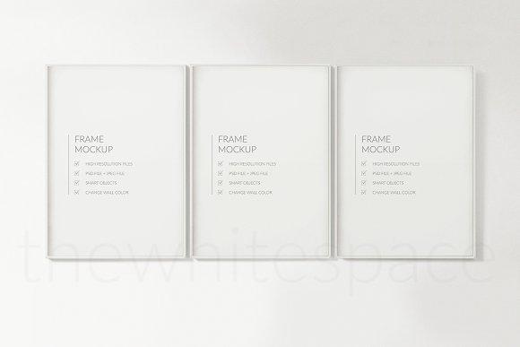 White Frame Mockup, Triptic