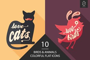 Birds and animals flat icon set