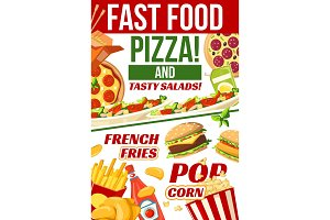 Fast food pizza, popcorn and fries