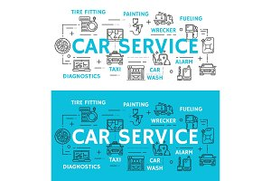 Car service and auto repair vector