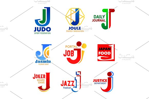 Business identity letter J icons
