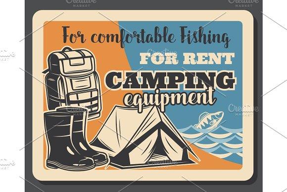Fishing camping vintage poster