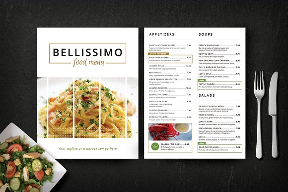 Modern restaurant menu bellissimo brochure templates for Free restaurant menu templates for mac