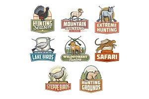 Safari hunting season vector icons