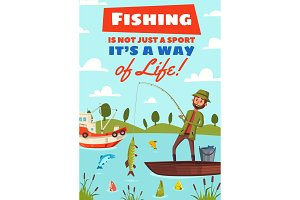 Fishing hobby sport cartoon poster