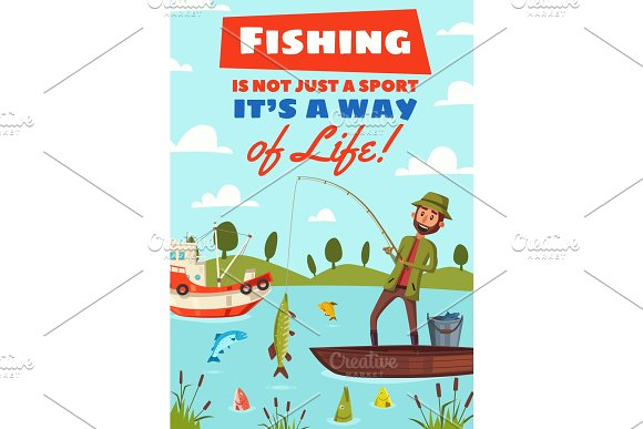 Fishing hobby sport cartoon poster
