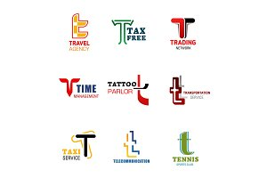Letter T icons and symbols