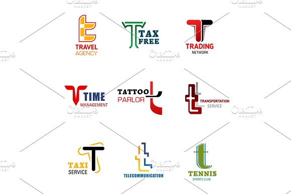 Letter T icons and symbols in Illustrations